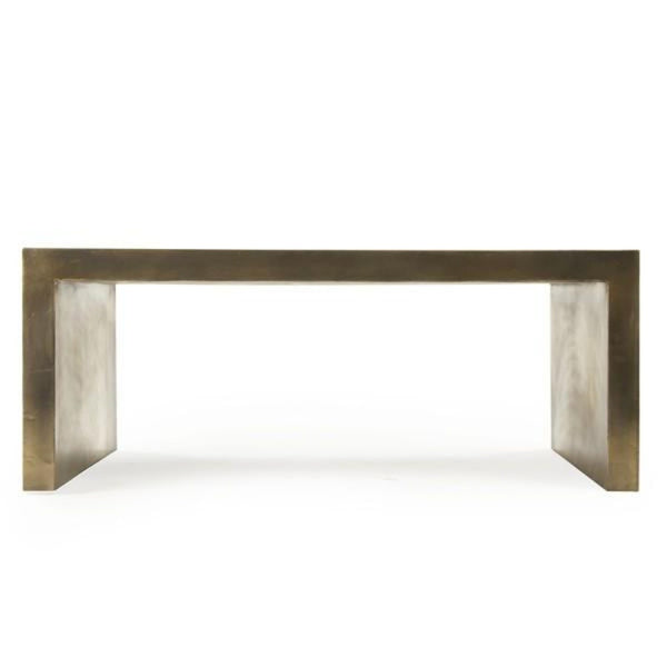 Antiqued Brass Clad Coffee Table - Coffee Table - Global Home