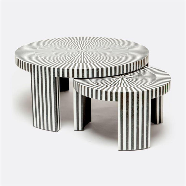 Striped Stone Nesting Cocktail Tables - LARGE - Coffee Table - Global Home