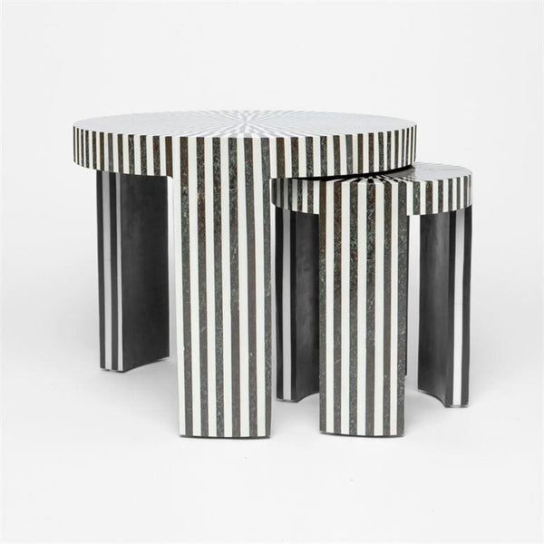Striped Stone Nesting Cocktail Tables - SMALL - Coffee Table - Global Home