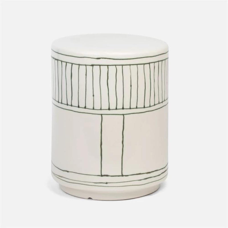 Striped White Glossy Side Table - Tables - Global Home