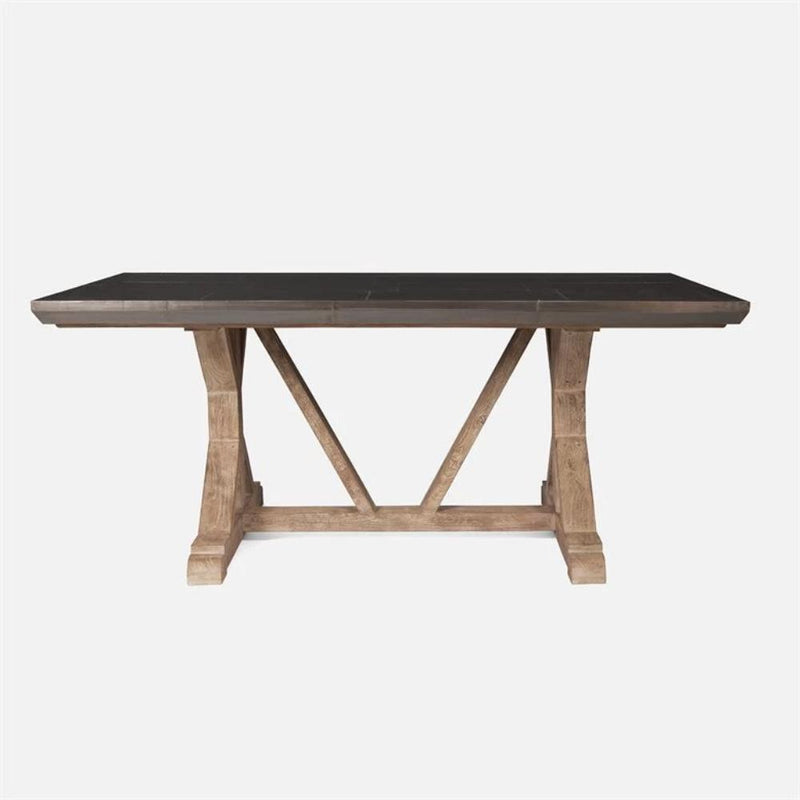 Teak and Metal Farmhouse Table - Multiple Sizes and Finishes - Dining Table - Global Home