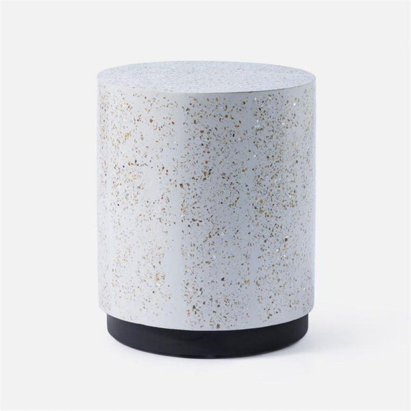 Round Terrazzo Stool - 2 Colors - Side Table - Global Home