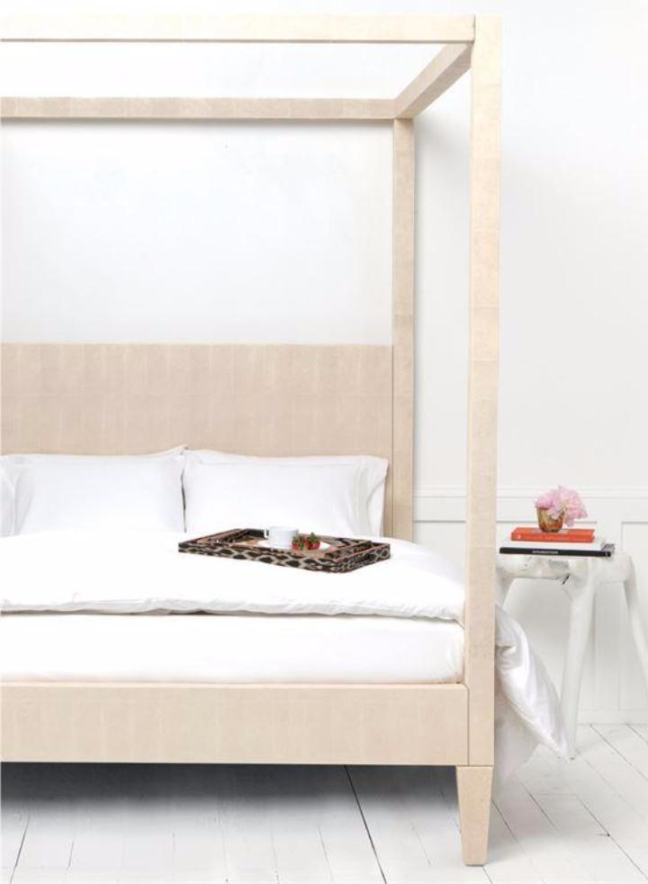 Shagreen Texture Canopy Bed - Bed - Global Home