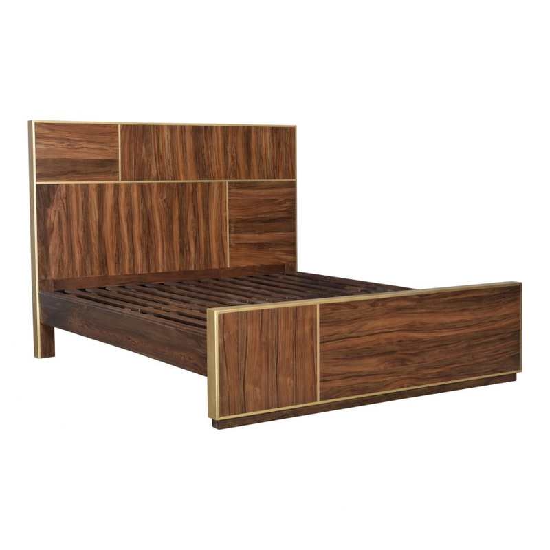 Sheesham Wood and Brass Bed - 2 Sizes - Bed - Global Home