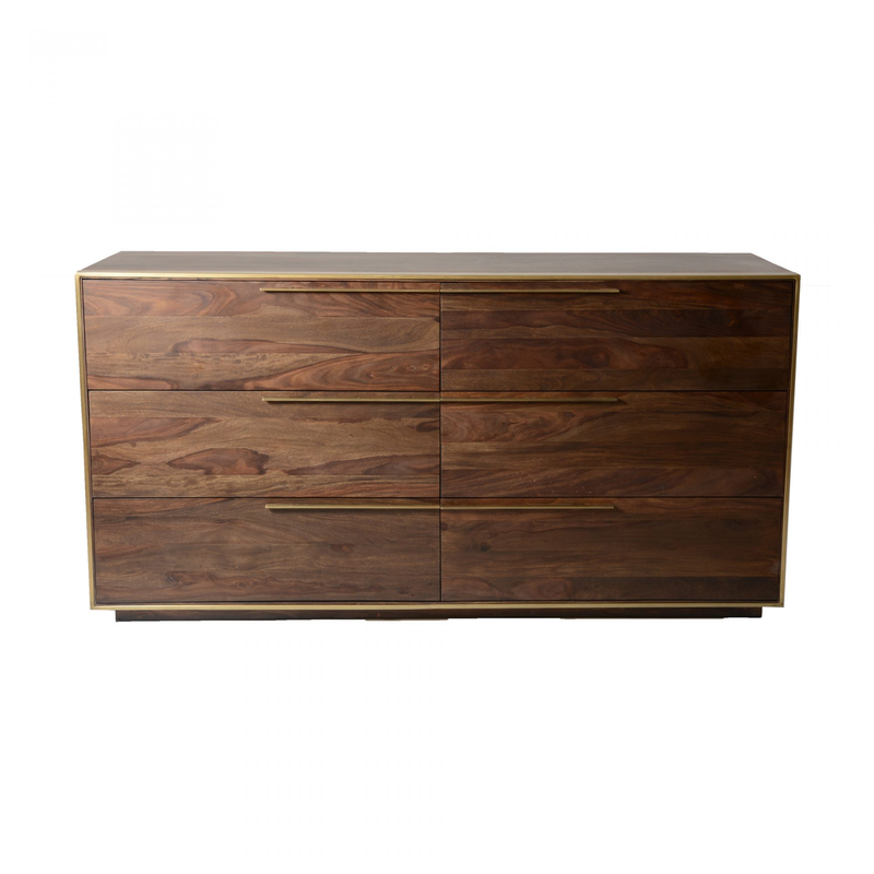 Sheesham Wood And Brass Dresser - Dresser - Global Home