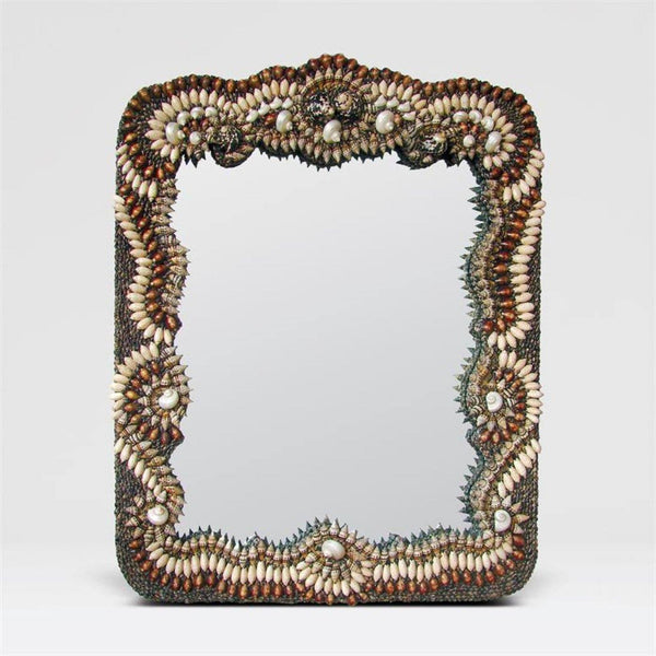 Baroque Tramp Art Shell Frame Mirror - Mirrors - Global Home