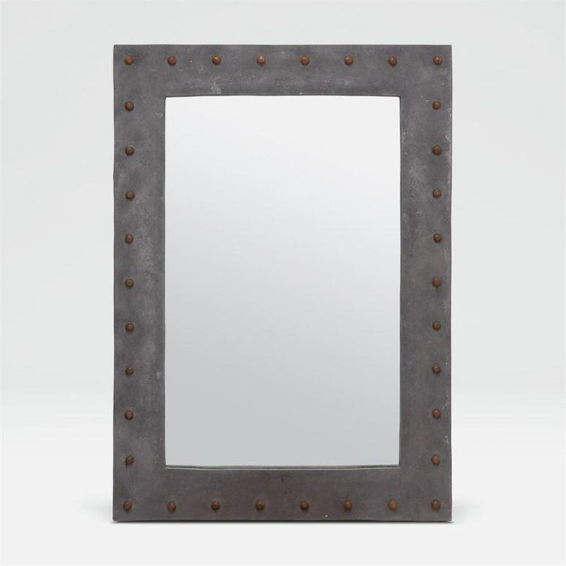 Stone Studded Mirror- Gray
