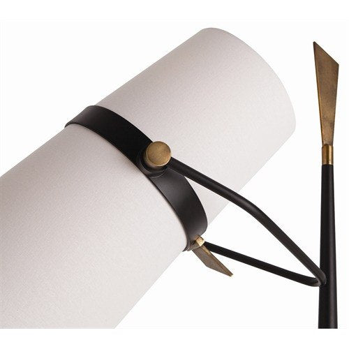 Yasmin Antique Brass and Black Floor Lamp - Lighting - Global Home