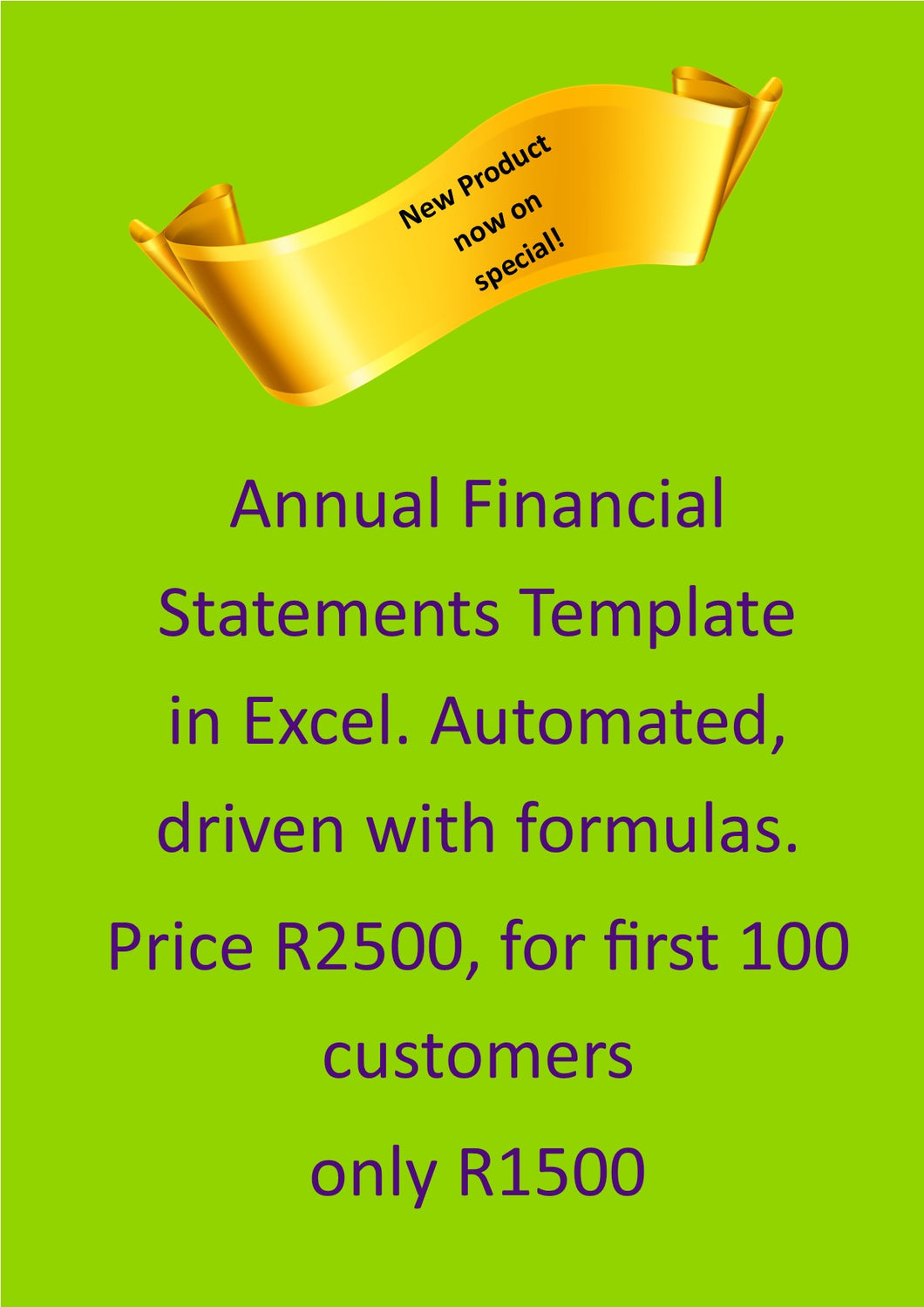 Annual Financial Statements (AFS) Automated with formulas in Excel (Download link and licence key will be emailed to you)