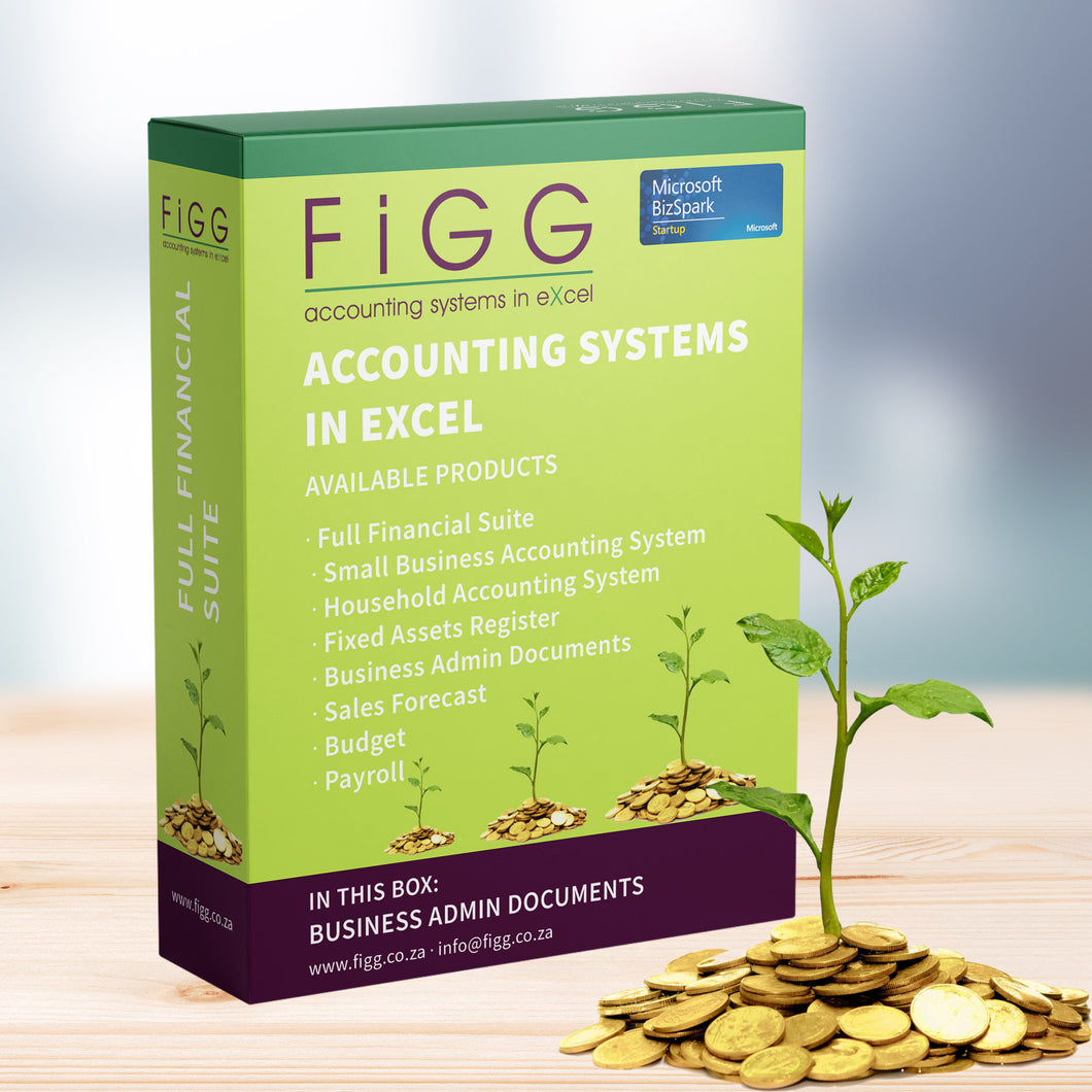 Figg, Excel Accounting Templates, Accounting Systems in Excel, Business Administration Documents, Business Admin Templates