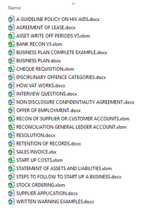Business Admin Documents