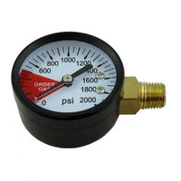 "CO2 Gauge, 2"" Diameter 2000# 1/4"" MPT (LHT)(Side)"