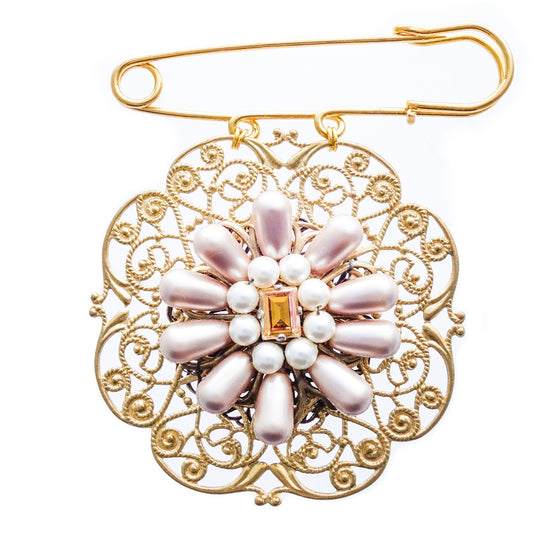 Gold Filigree Swarovski Pearl and Crystal Brooch