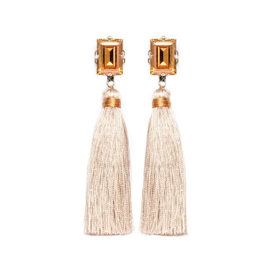 Gold Swarovski Tassel Earrings