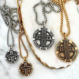 Men's cross coin necklace