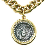 Bbeni heavy Miami Cuban link two tone lion coin necklace