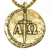 Bbeni alpha and omega coin stainless chain  for men