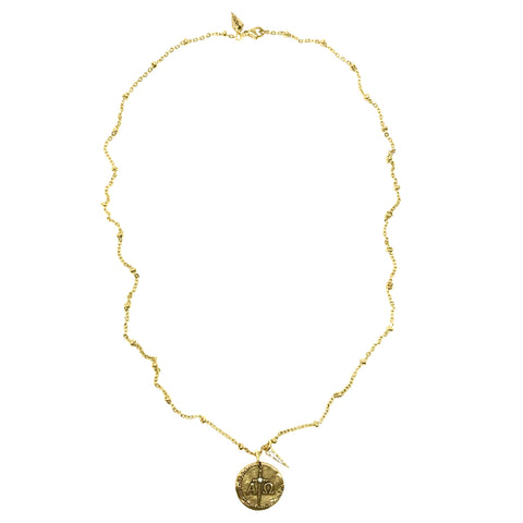 Alpha and Omega Crystal Reversible Coin Satellite Necklace