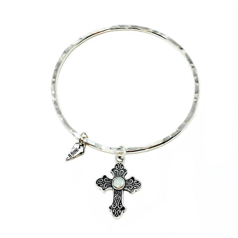 Sterling Fleur-de-Lis Coin Beaded Stretch Bracelet