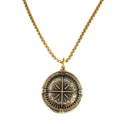 NEW! Large Compass Coin Necklace For Men