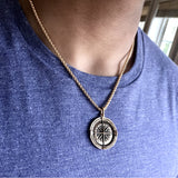 Bbeni men's compass coin necklace