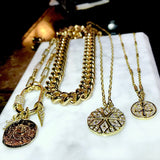 Bbeni gold diamond cz coin necklace paper clip chain
