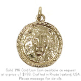 New! Solid .925 Sterling Silver Intrépide Lion Coin Charm Pendant