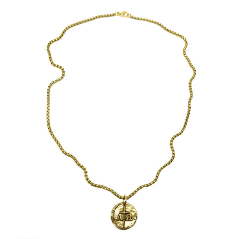 Alpha and Omega Reversible Coin Necklace