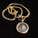 Gold silver lion coin necklace