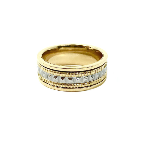 New! Two-Tone Spinner Band Ring in Stainless and Gold