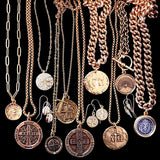 Bbeni Christian cross coin jewelry Greek Alpha and Omega pendant