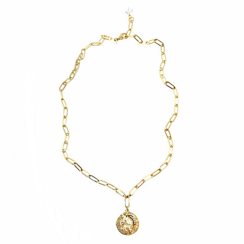 New! Gold Seashell Pendant on Drawn Cable Chain Necklace