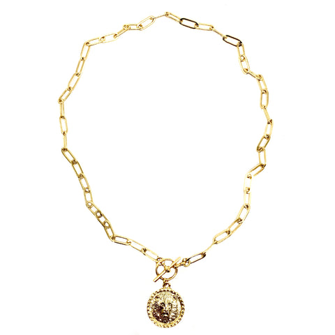 Shiny Gold Intrépide Lion Coin Toggle Necklace