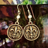 Flour de lis coin earrings