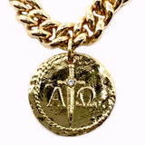 Bbeni alpha omega gold coin on Miami Cuban chain necklace