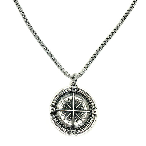 NEW! Large Compass Coin Necklace