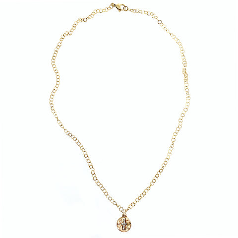Hammered Gold Crystal Cross Pendant on Sparkle Chain Necklace