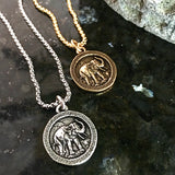 Bbeni wise elephant coin necklace