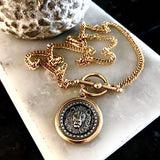 Bbeni gold and silver lion coin toggle necklace