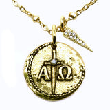 Bbeni gold omega cz coin satellite chain necklace