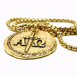 Bbeni alpha and omega coin Necklace gold for men
