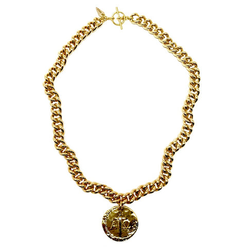 Alpha and Omega Crystal Reversible Coin Miami Cuban Necklace