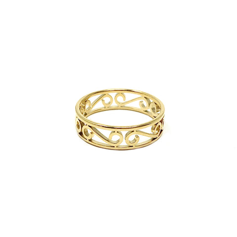 New! 14K Gold Stainless Open Scroll Design Band Ring