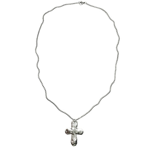 Rugged Silver Cross Necklace