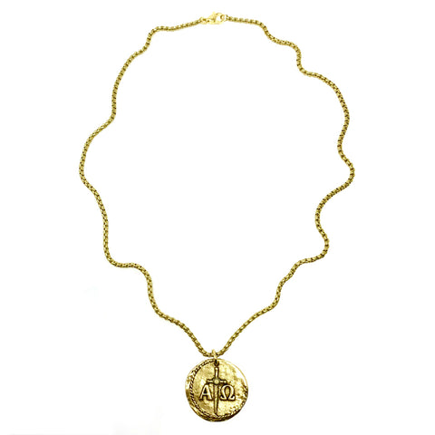 Large Alpha and Omega Reversible Coin Necklace