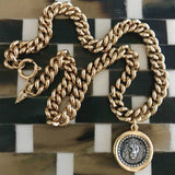 Bbeni gold miami Cuban link lion coin men's necklace