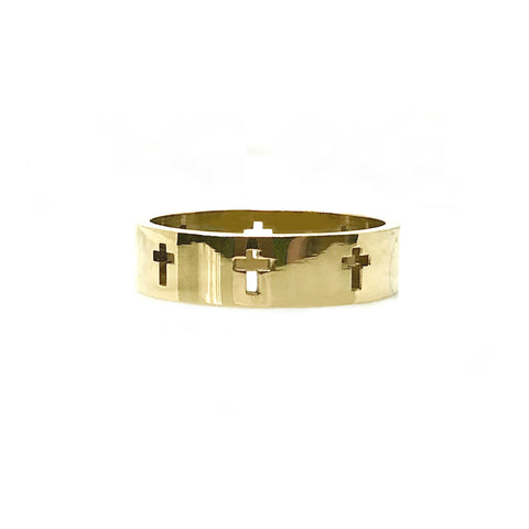 New! Stainless Steel Cross Band Ring