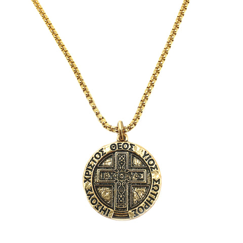 Large IXOYE Cross Coin Necklace