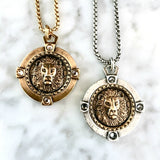 Bbeni gold silver lion coin necklace