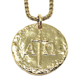 Bbeni alpha omega Greek Christian necklace gold silver for men